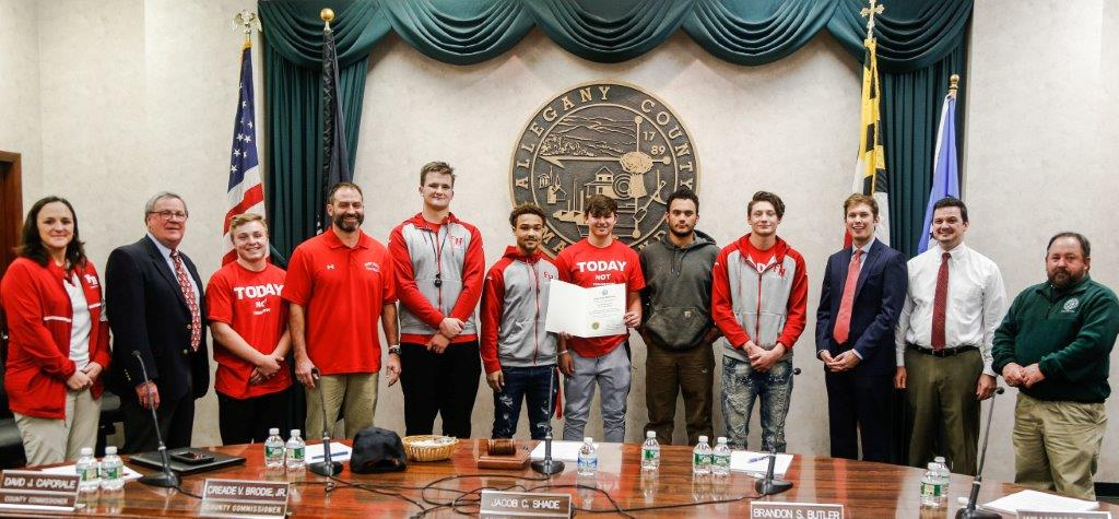 Allegany County Commissioners Salute Fort Hill Football State Championship Team Photo