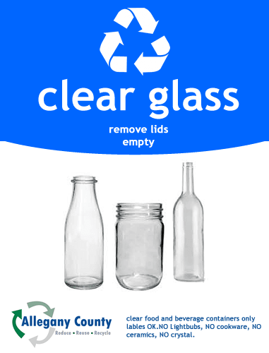 Clear glass recycling Sign